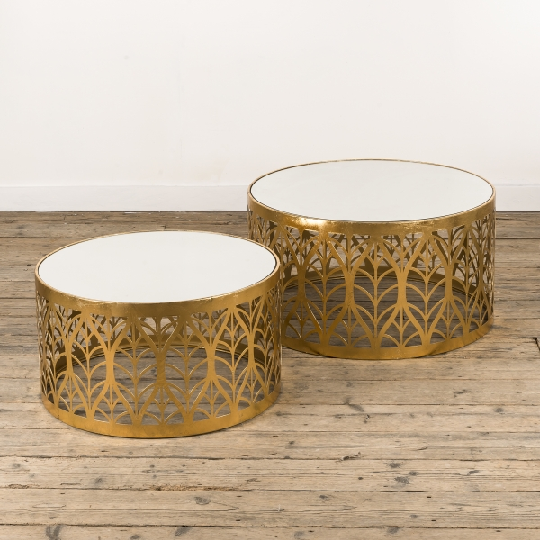 Gin Shu Metal Nest of Coffee Tables - Gold Gilt Leaf EXTRA PACKAGE