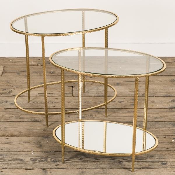 Gin Shu Metal Nest of Tables - Gold Gilt Leaf