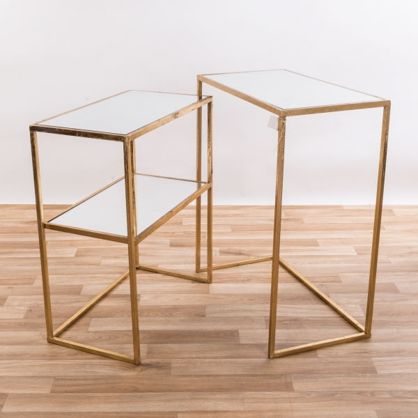Gold Gilt Leaf Parisienne Metal Set of Two Rectangular Mirrored Nesting Tables - EXTRA PACKAGE