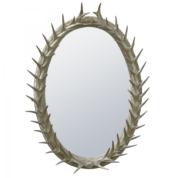 Antler Framed Champagne Silver Decorative Wall Bedroom Hall Mirror