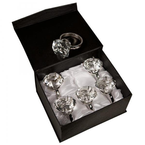Diamond Ring - Box - Set of 6 - Clear Crystal
