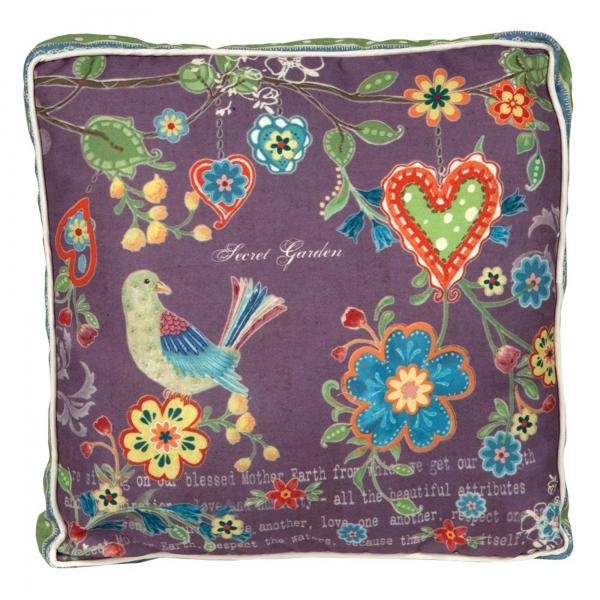Vintage Primavera Cushion Bird with Flowers Heart