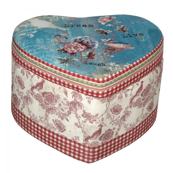 Vintage Primavera Heart Stool with Storage
