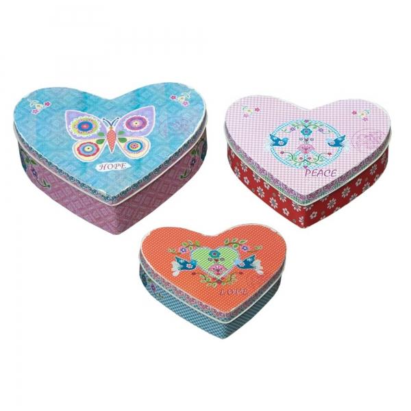 Vintage Primavera Heart Boxes Set of 3