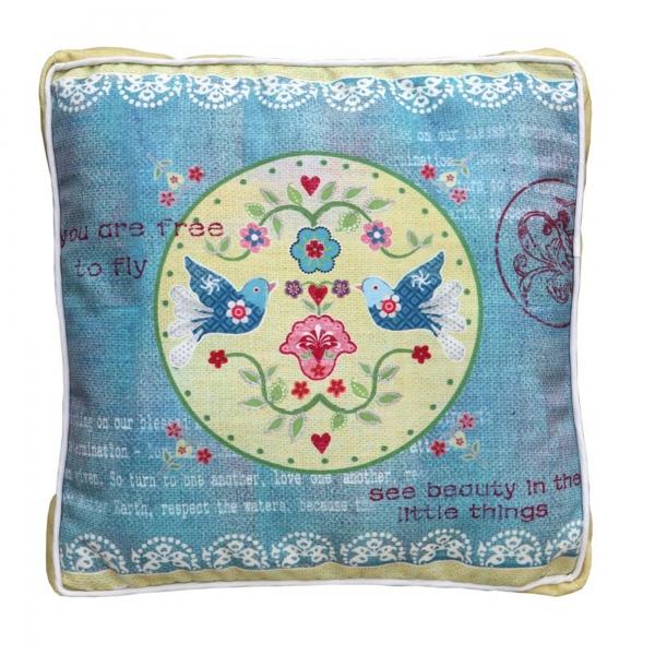Vintage Primavera Cushion with Love Birds
