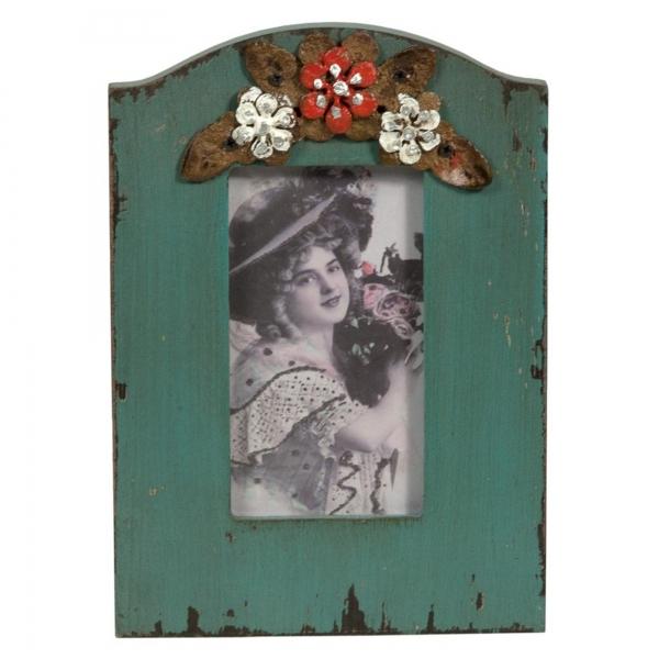 Vintage Primavera Blue Photo Frame with Floral Detail