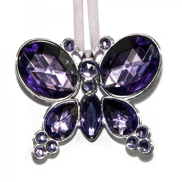 Lilac Hanging Jewel Bead Butterfly