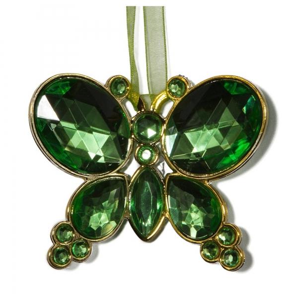 Mint Green Hanging Jewel Bead Butterfly