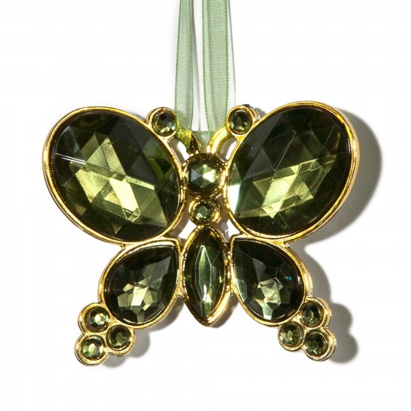 Olive Hangning Jewel Bead Butterfly