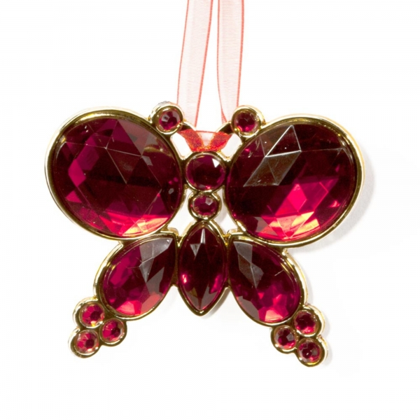 Red Hanging Jewel Bead Butterfly