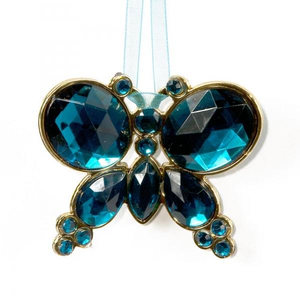 Turkish Blue Hanging Jewel Bead Butterfyl
