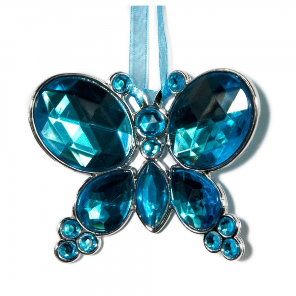 Water Blue Hanging Jewel Bead Butterfly