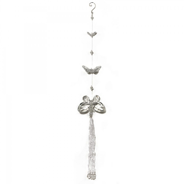 Clear White Three Butterfly chain with Tassels