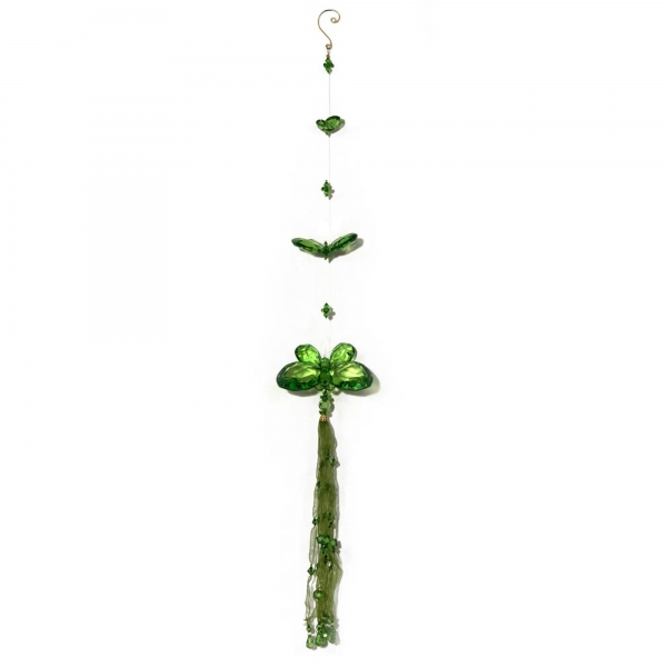 Green Three Butterfly chain with Tassels