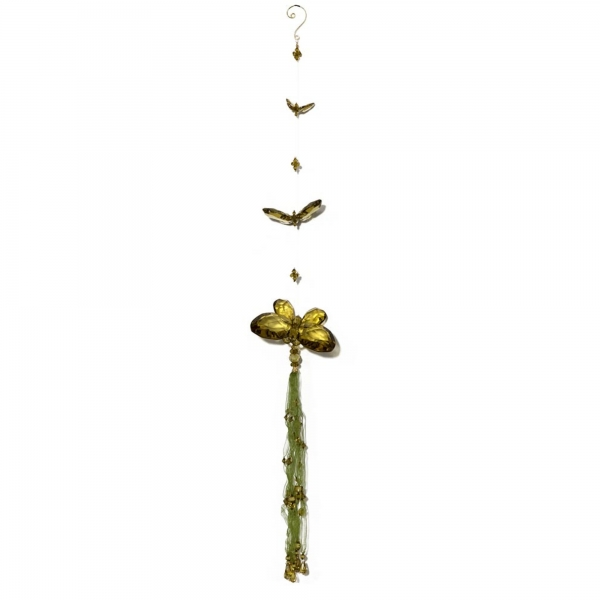 Olive Three Butterfly chain with Tassels