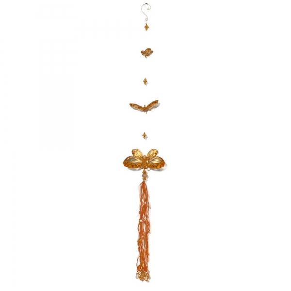 Orange Three Butterfly chain with Tassels