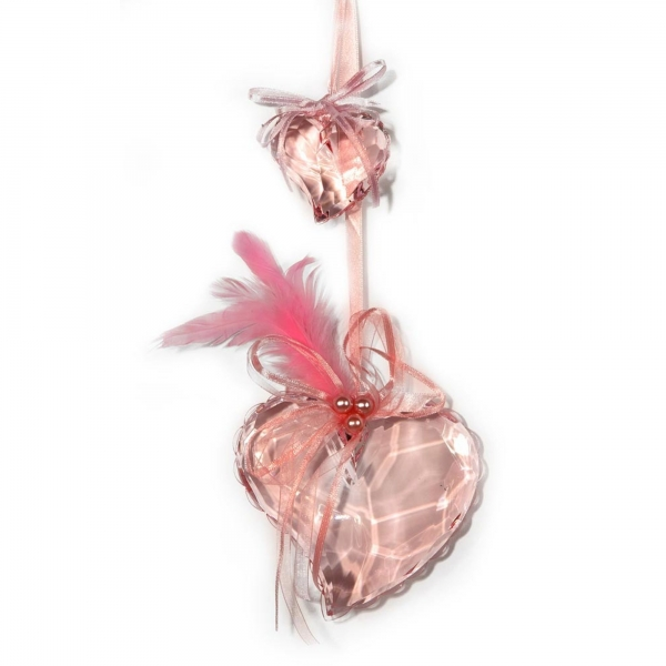Fuchsia Heart with Feathers