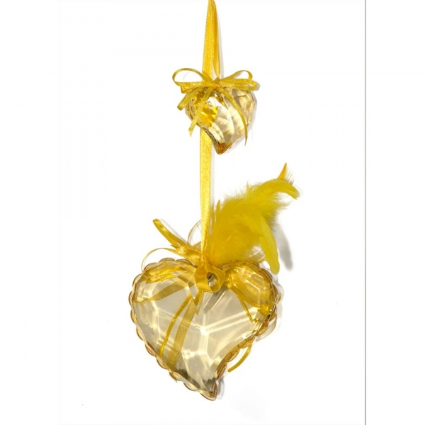 Gold Heart with Feathers