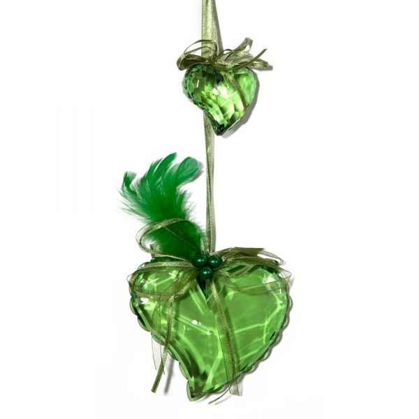 Green Heart with Feathers