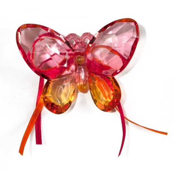 Fuchsia/Gold Two tone Butterfly with Ribbon