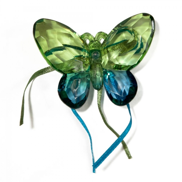 Green/Turkish Blue Two tone Butterfly with Ribbon