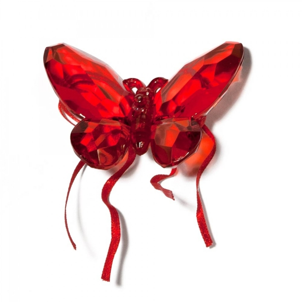 Red Butterfly with Ribbon