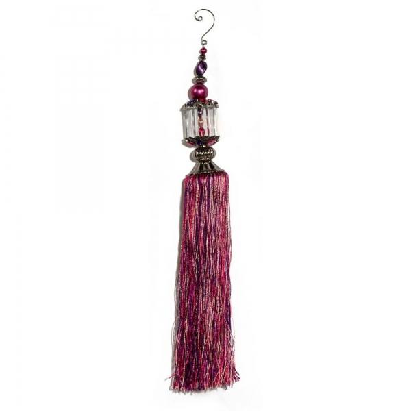 Fuchsia/Purple/Pink Acrylic Beads with Tassel