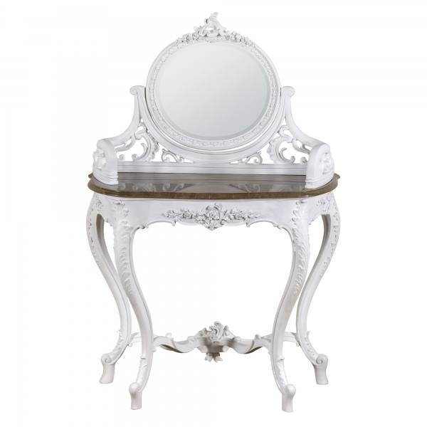 Baroque Dressing Table - White and Brown Marble Vintage