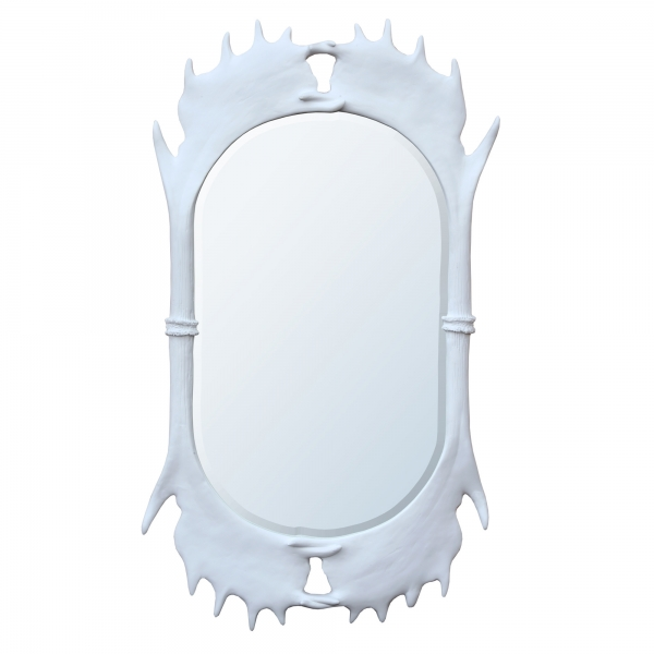Antler Framed White Chalk Paint Decorative Wall Bedroom Hall Mirror