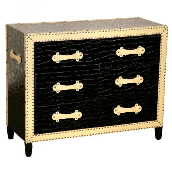 Mock Croc Chest of Drawers - Black and Cream