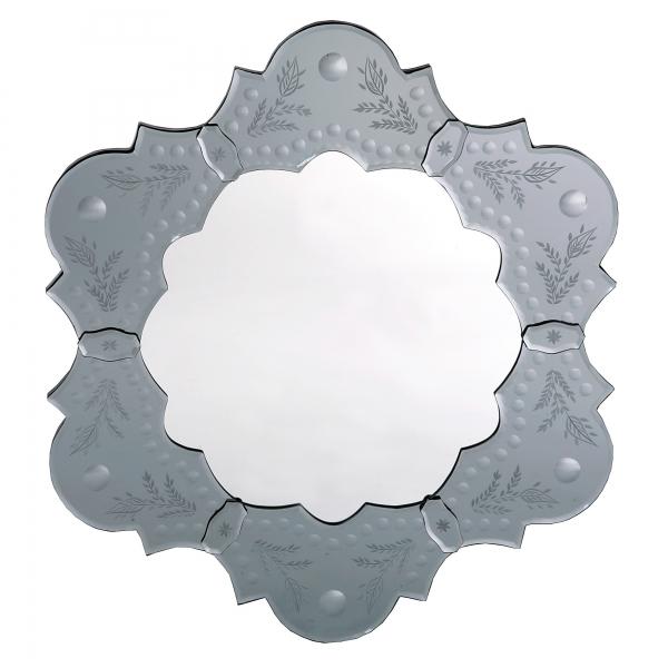 Venetian Etched Petal Mirror - Antique Silver