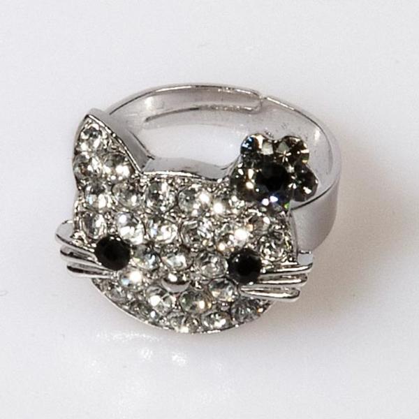 Kitty Flower Ring - Black Diamond