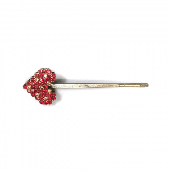 Small Heart Hair Clip - Red
