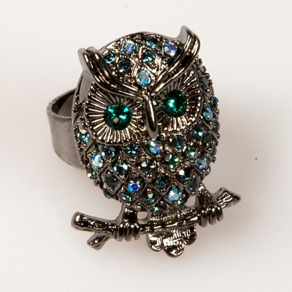 Owl Front Ring - Navy