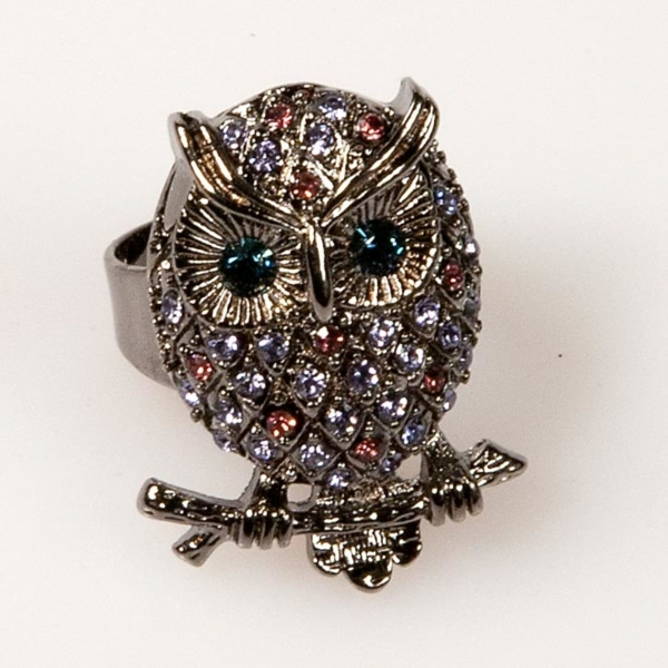 Owl Front Ring - Purple