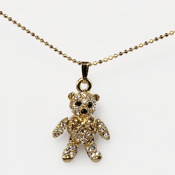 MINI BOW TEDDY NECKLACE-GOLD