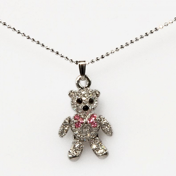 MINI BOW TEDDY NECKLACE-PINK