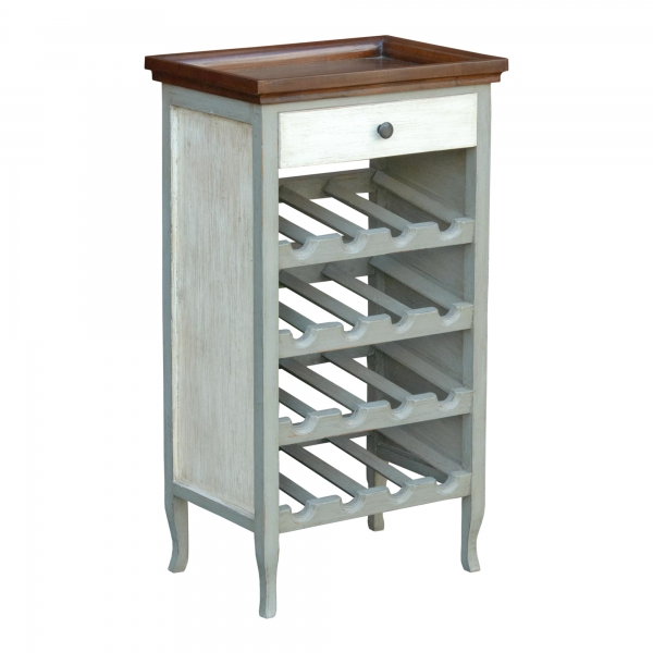 Isabella Side Table with Rack - Grey and White