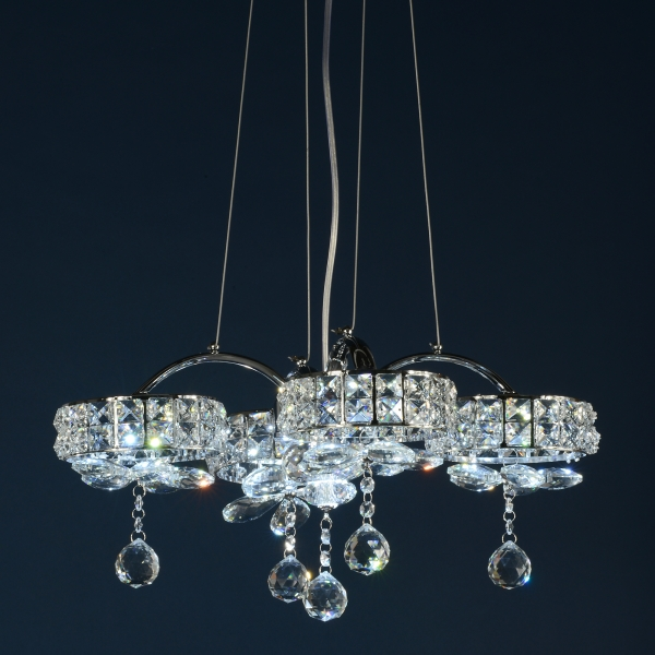 Crystal 5 Light Chandelier - Chrome and Clear
