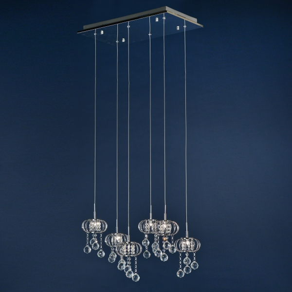 Crystal 6 Light Chandelier - Chrome and Clear