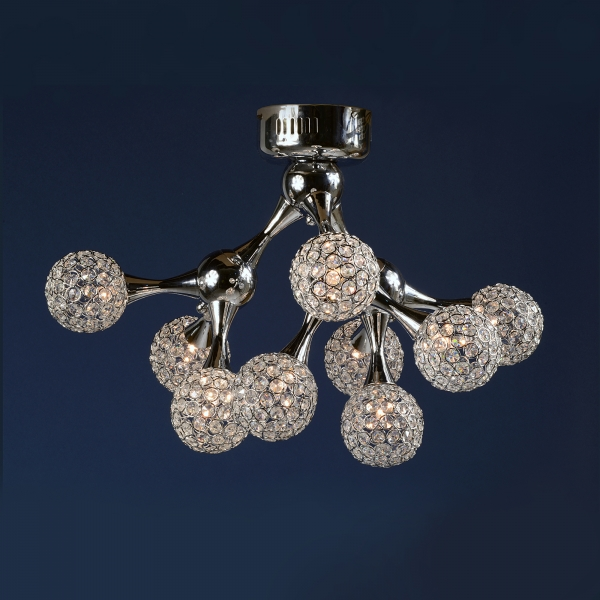 Contemporary Ball 9 Light Chandelier - Chrome and Clear