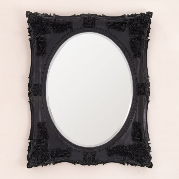 Beth Black Overmantle Mirror