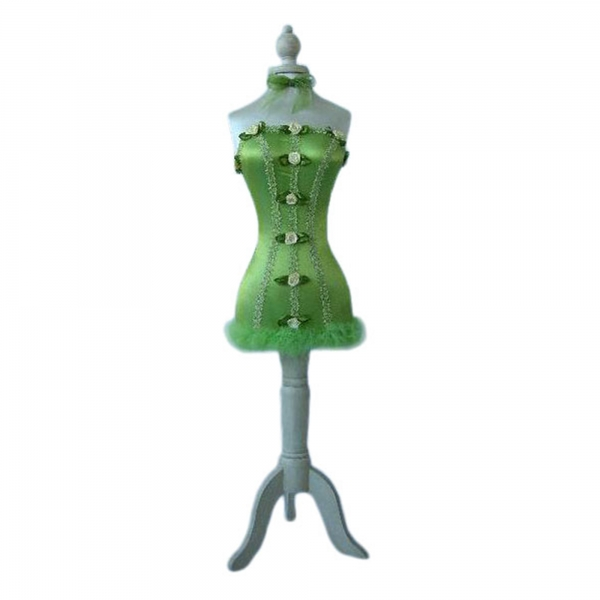 Green-Dressed Decorative Mannequin with Flowers & Feather Trim