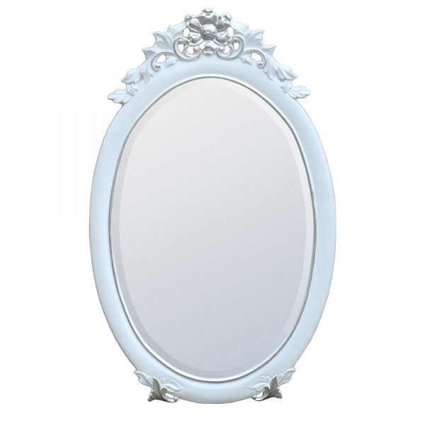 Rococo Style Gloss White & Silver Oval Decorative Wall Bedroom Hall Mirror