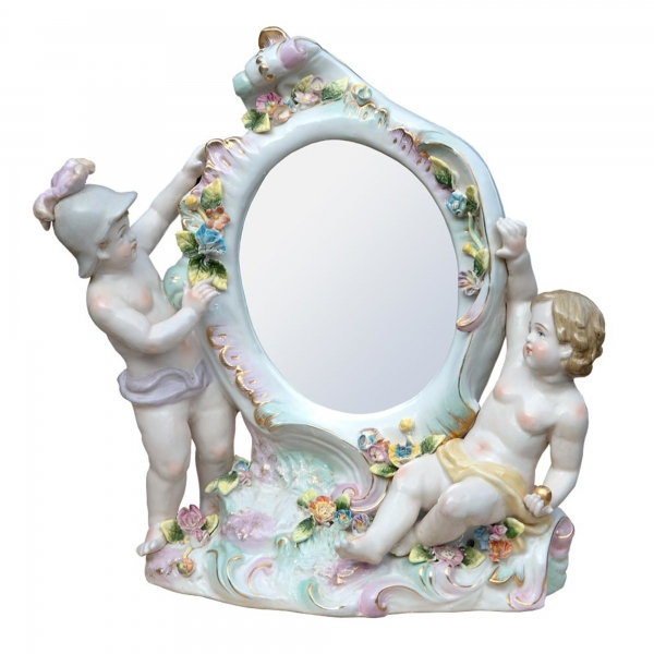 Floral Cherub Antique Style Ceramic Oval Decorative Table Mirror