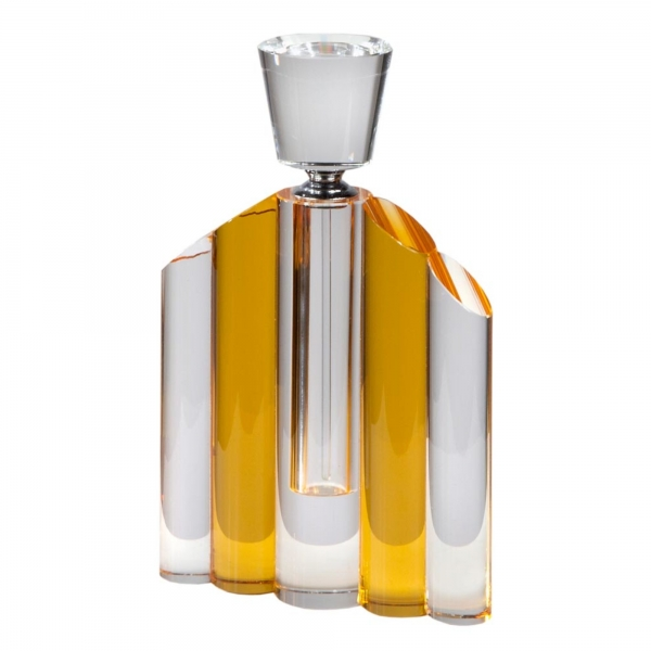 Crystal Perfume Bottle with Amber Vertical Segments