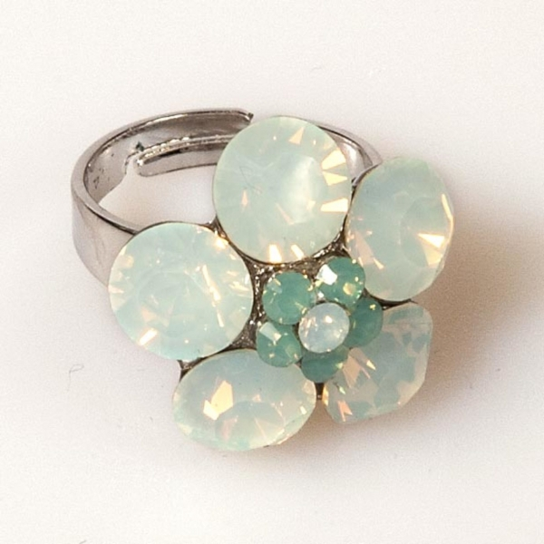 White Opal Mini Flower Ring