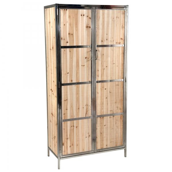 Wardrobe - Natural Wood and Silver