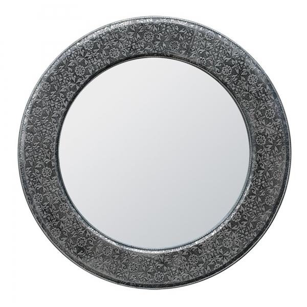 Chaandhi Kar Metal Embossed Mirror - Blackened Silver