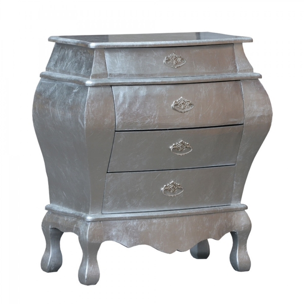 High Gloss Chest of Drawers - Silver